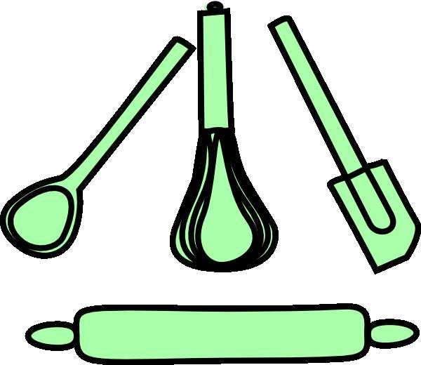 Bakery utensils pastel green. Tool clipart baking
