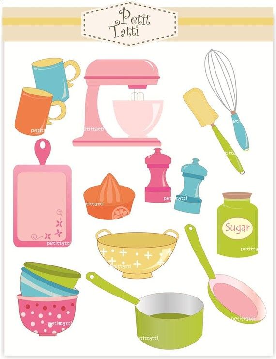 Baking clip art digital. Cookbook clipart equipment