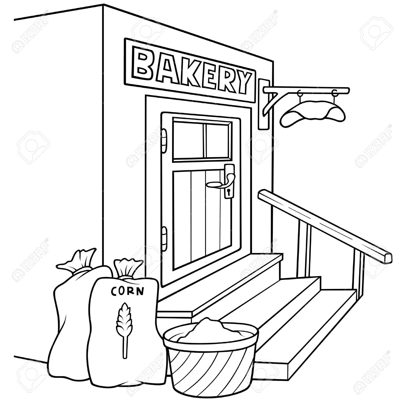 Bakery black and white. Baker clipart line drawing