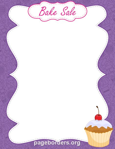 Printable bake sale use. Baking clipart border
