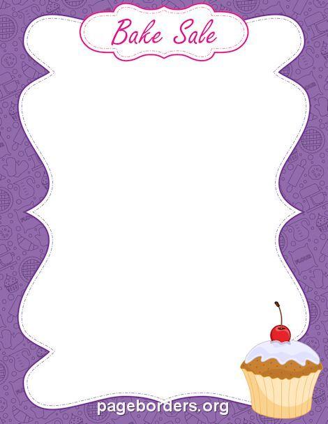 Baking clipart border. Printable bake sale use