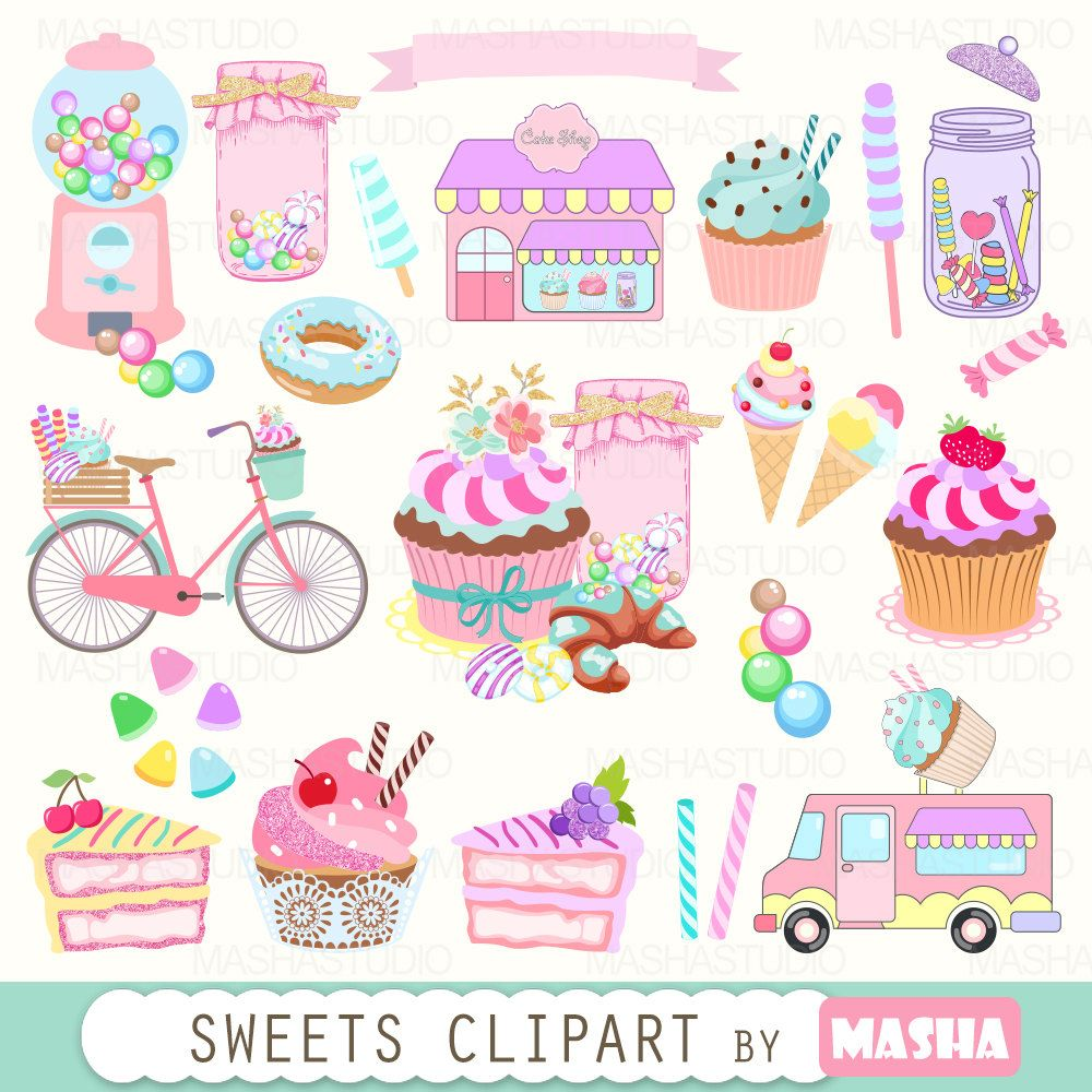 Bakery clipart cake shop. Sweets with cupcake candy