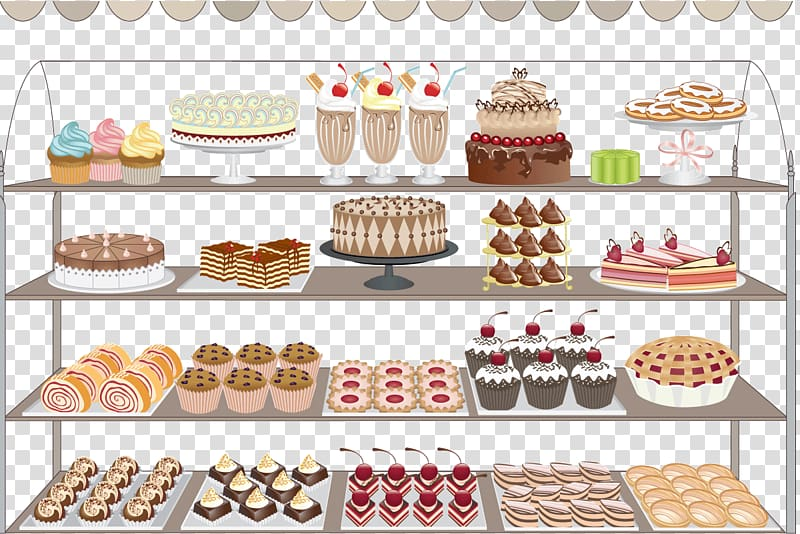 Bakery clipart cake shop. Variety of dessert illustration