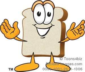 Bread slice with arms. Bakery clipart cartoon