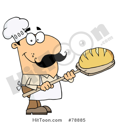 Bakery clipart cartoon. Baker caucasian bread man