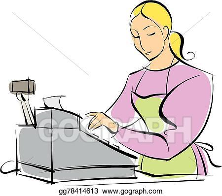 Vector art store eps. Bakery clipart cashier