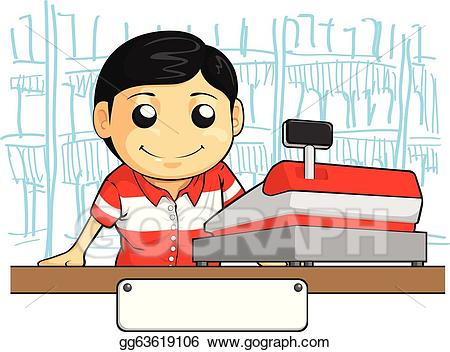 Vector art employee with. Cashier clipart cute