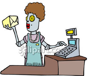 Robot royalty free picture. Cashier clipart grocery cashier