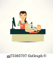 Vector art employee with. Bakery clipart cashier