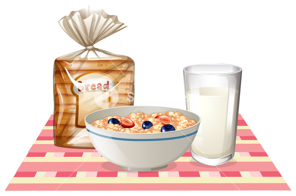 Bakery clipart cereal. Breakfast set with bread