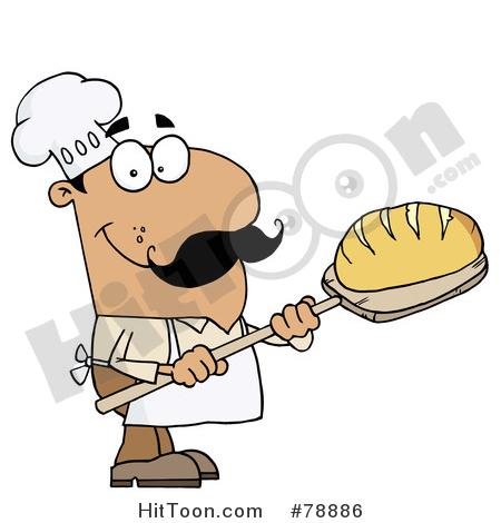 Hispanic cartoon bread man. Chef clipart baker