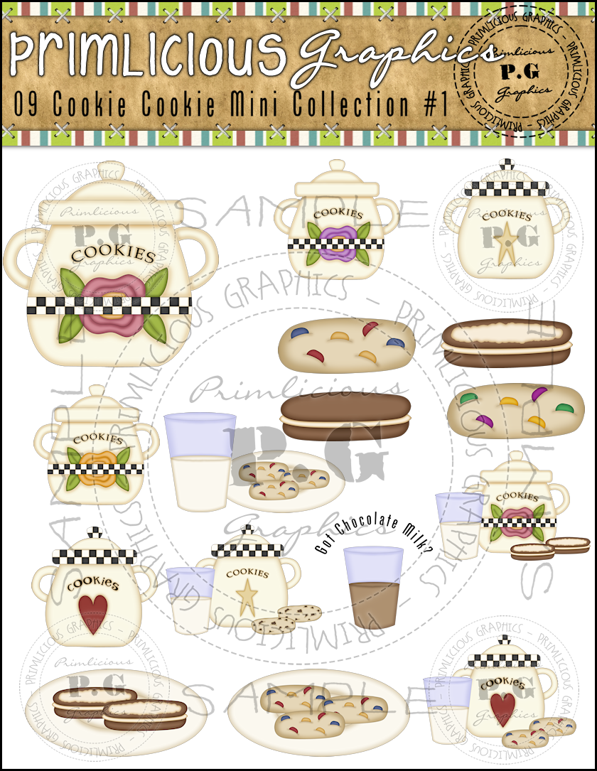 Primlicious clip art graphics. Bakery clipart cookie