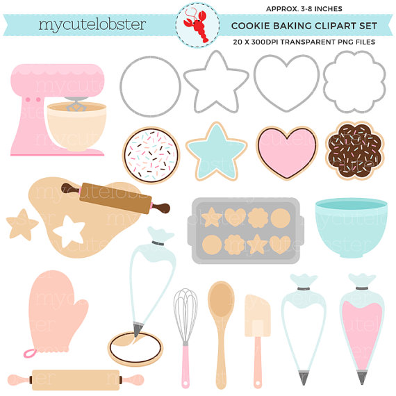Bakery clipart cookie. Baking set cookies clip