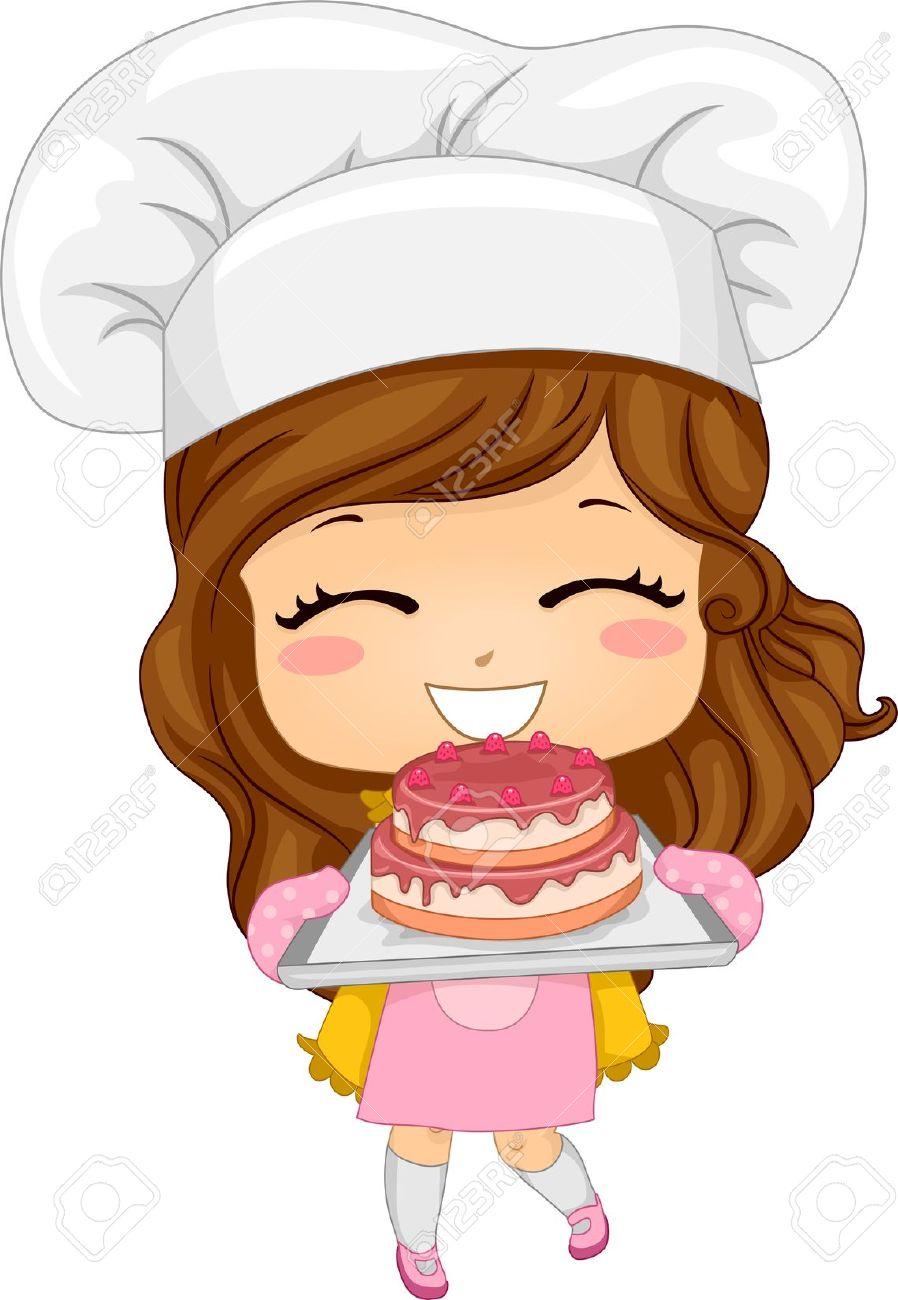 Chef girl . Bakery clipart cute
