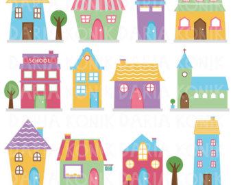 Clip art etsy houses. Bakery clipart cute
