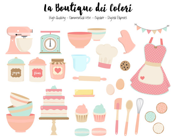 Baking clipart pastel. Pink and blue cute