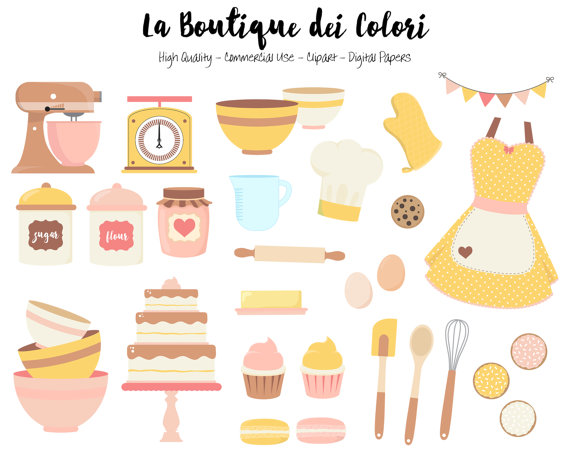 Pink and yellow digital. Baking clipart cute