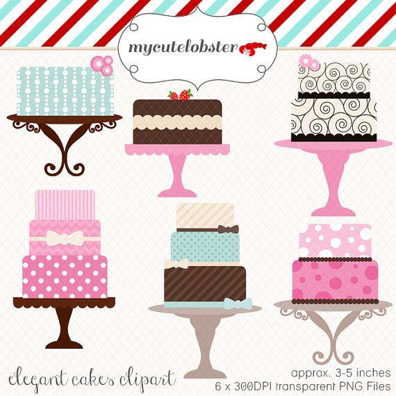 Cakes set clip art. Bakery clipart cute