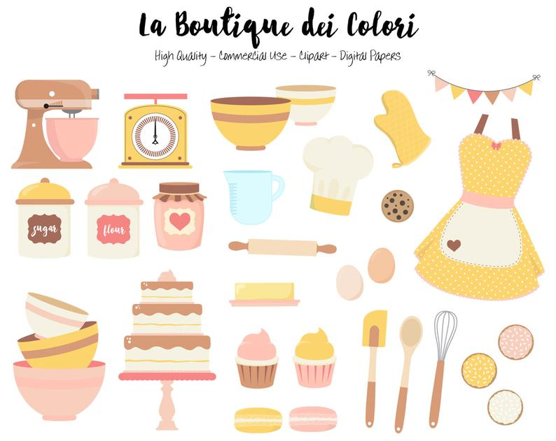 Pink and yellow baking. Bakery clipart cute