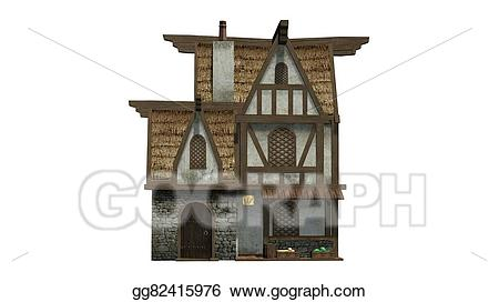 Bakery clipart exterior. Drawing medieval building gg