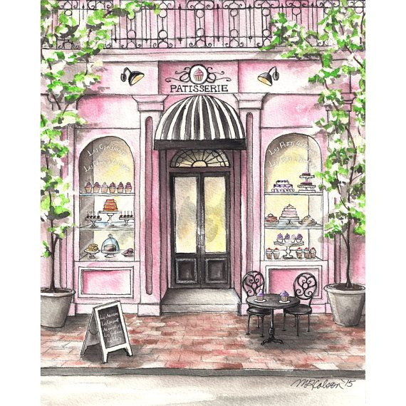 French patisserie watercolor print. Bakery clipart exterior