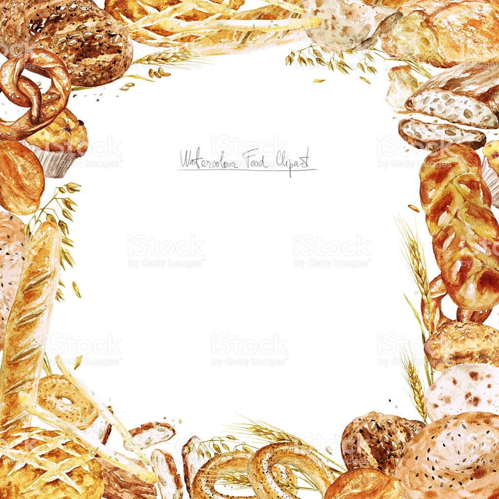 Bread border pencil and. Bakery clipart frame