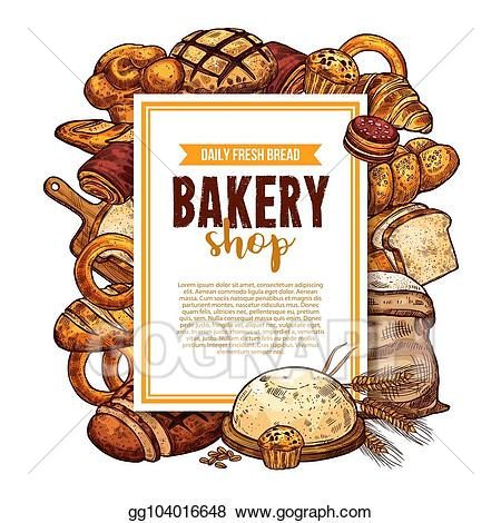Bakery clipart frame. Vector art bread and