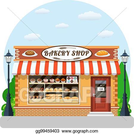 Vector art shop veiw. Bakery clipart front
