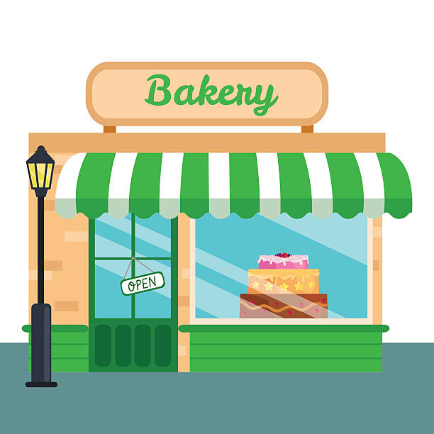 Bakery clipart front. Shop stores icon flat
