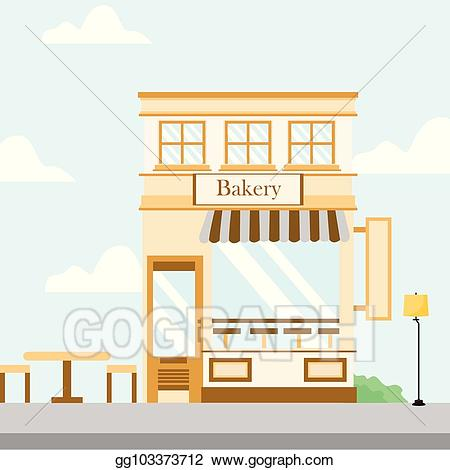 Eps vector store building. Bakery clipart front