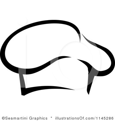 Chef black and white. Bakery clipart hat
