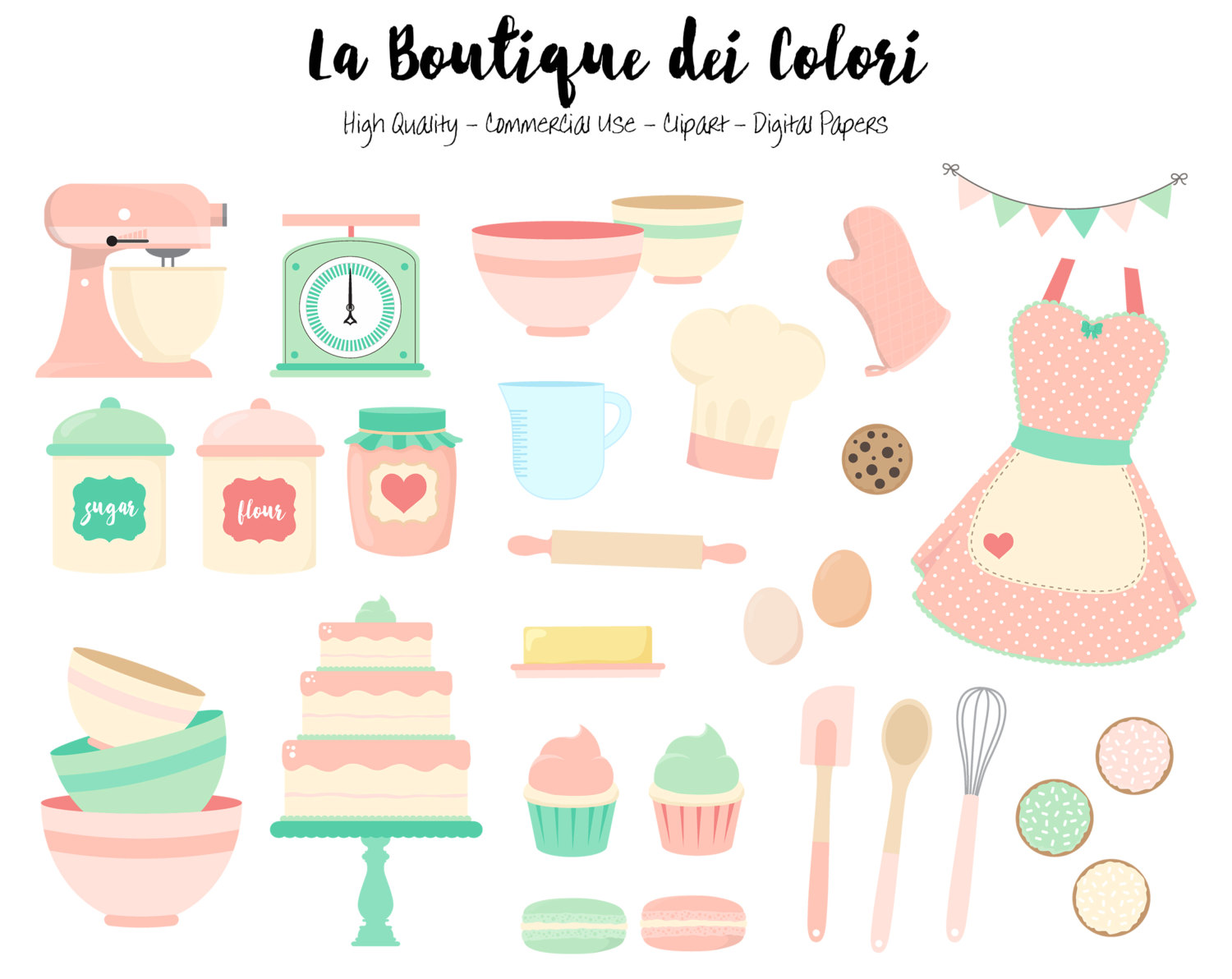 Bakery clipart hat. Pink and mint baking