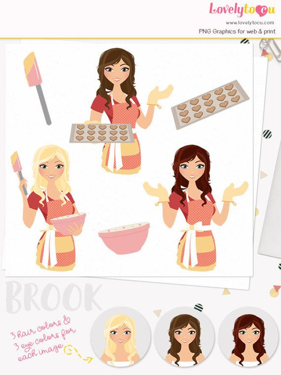 Bakery clipart hat. Baking woman character clip