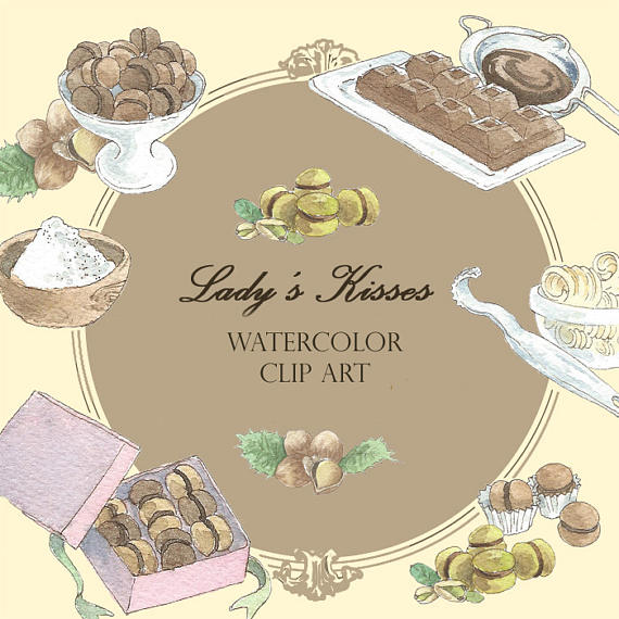 Watercolor cake food clip. Bakery clipart medieval