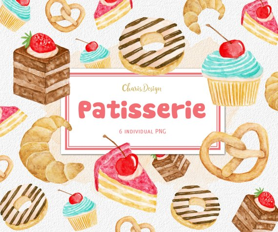 Bakery clipart pastry. Patisserie watercolor illustration cake