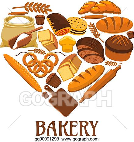 Vector stock heart sign. Bakery clipart pastry