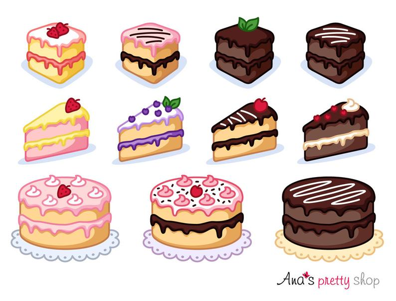 Piece of bakery sweet. Clipart cake pastry