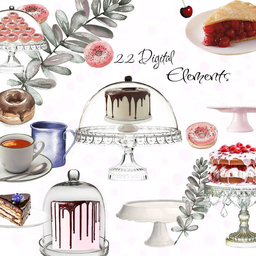 Digital desserts and cake. Bakery clipart printable