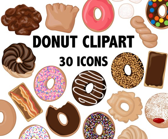 Donuts clipart printable. Donut bakery icons pastry