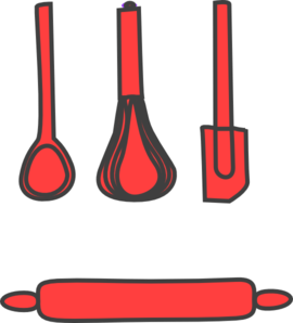 Red clip art at. Bakery clipart rolling pin