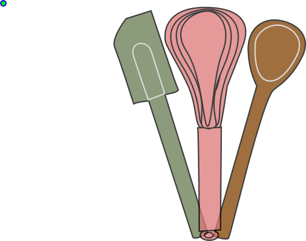 Baking clipart baking utensil. Utensils green pink brown