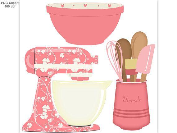Kitchen set pink mixer. Baking clipart baking utensil