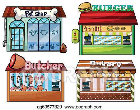Bakery clipart store. Vector illustration petshop burger