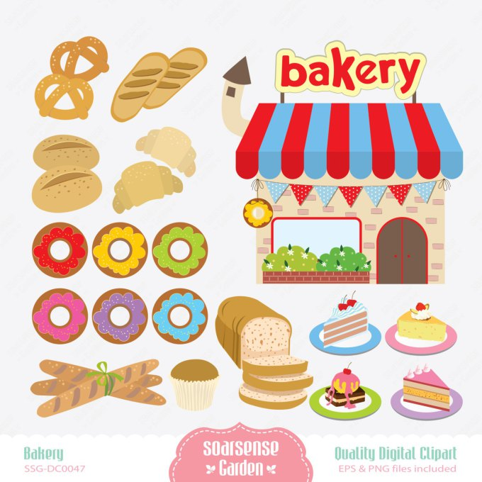 Pastry shop suggest shelves. Bakery clipart store