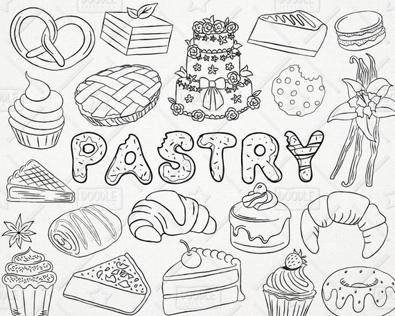 Doodle pastry pack sweets. Bakery clipart vector