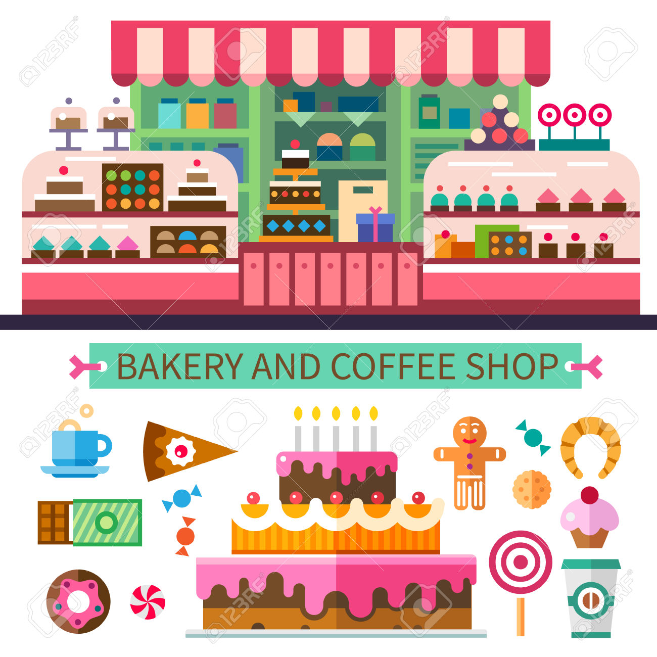 collection of shop. Bakery clipart vector
