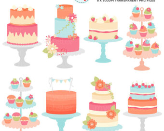 Floral cakes set clip. Bakery clipart wallpaper