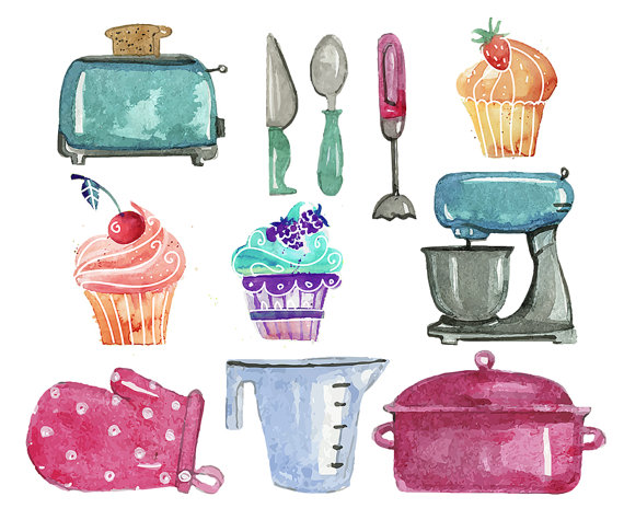 Set clip art of. Baking clipart watercolor