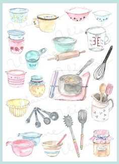 Clip art vintage accessories. Baking clipart watercolor