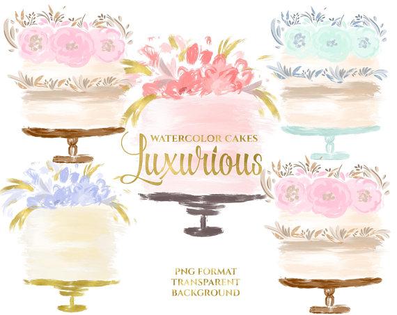 Cake wedding . Bakery clipart watercolor
